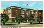 Brownsville High School building by Robert Runyon and Curt Teich & Co.