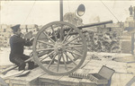 Soldier using cannon during Mexican Revolution