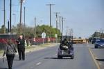 Golf cart leading the 50th Anniversary walk