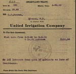 Correspondence and payment collections between United Irrigation Company and G. C. Jensen from 1919 to 1933 by United Irrigation Company and John Harry Shary