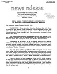 Agriculture News Release - 1994-03-22 by United States. Congress. House. Committee on Agriculture and E. De la Garza