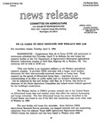 Agriculture News Release - 1994-04-05a by United States. Congress. House. Committee on Agriculture and E. De la Garza