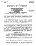 Agriculture News Release - 1994-04-28 by United States. Congress. House. Committee on Agriculture and E. De la Garza