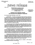 Agriculture News Release - 1994-06-22 by United States. Congress. House. Committee on Agriculture and E. De la Garza