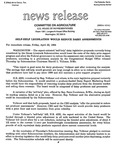 Agriculture News Release - 1994-04-22 by United States. Congress. House. Committee on Agriculture and E. De la Garza