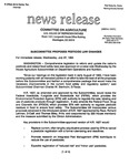 Agriculture News Release - 1994-07-27b by United States. Congress. House. Committee on Agriculture and E. De la Garza