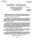 Agriculture News Release - 1994-08-03 by United States. Congress. House. Committee on Agriculture and E. De la Garza