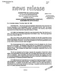Agriculture News Release - 1994-09-22 by United States. Congress. House. Committee on Agriculture and E. De la Garza