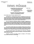 Agriculture News Release - 1994-09-29 by United States. Congress. House. Committee on Agriculture and E. De la Garza