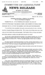 Agriculture News Release - 1996-03-29 by United States. Congress. House. Committee on Agriculture and E. De la Garza