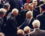 Photograph of Kika de la Garza with Prime Minister of Israel, Shimon Peres
