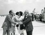 Photograph of Kika de la Garza and wife Lucille greeting senator from Mexico