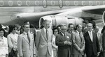 Photograph of Kika de la Garza beside politicians at an airport before heading to the Inter-Parliamentary Conference