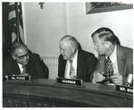 Photograph of Kika de la Garza with W.R. (Bob) Poage at a roundtable