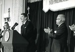 Photograph of President Ronald Reagan speaking at Mexico-United States Inter-Parliamentary Conference