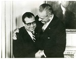 Photograph of Kika de la Garza with President Lyndon B. Johnson having a joyful moment