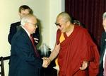Photograph of Kika de la Garza with Bstan-'dzin-rgya-mtsho, Dalai Lama XIV