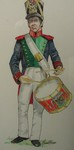 Mexican Army Eleventh Infantry Regiment drummer drawing