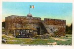 Casa Mata, a Mexican fort by Curt Teich & Co. and Robert Runyon