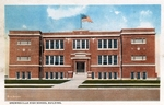 Brownsville high school building by Curt Teich & Co. and Robert Runyon